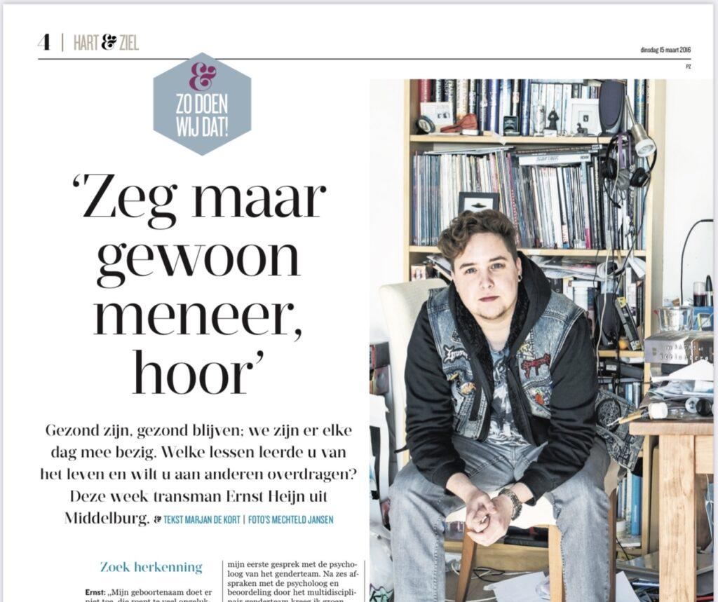 interview met transgender Ernst Heijn in PZC-katern Hart & Ziel