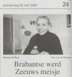 Marjan de Kort in 100 Zeeuwse portretten in PZC 25 mei 2000